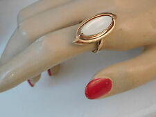 Rose Gold Plated White Mother of Pearl MOP Shell size 8 Ring 7f 52