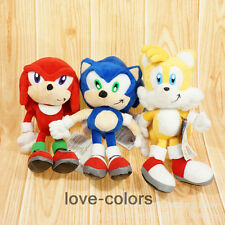 """3pcs New Sonic the Hedgehog Tails Knuckles Anime Plush Soft Stuffed Toy Doll 9"""""""