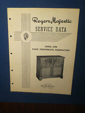 ROGERS MAJESTIC R290 RADIO PHONOGRAPH SERVICE MANUAL ORIGINAL FACTORY ISSUE
