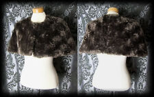 Gothic Brown Faux Fur DECADENCE Button Shrug Cape Jacket 10 12 Victorian Vintage