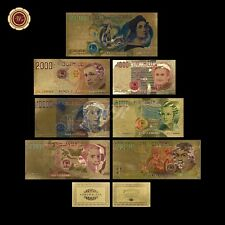 WR Italy Gold Banknote Set Of 7 PCS Colored 1000-500000 Lire Collectible Note
