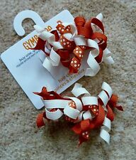 Gymboree Girls Hair Clips x 2 -White and Orange with White Spots - Brand New