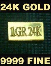 (x5) ACB PURE 24k Gold BULLION MINTED 1Grain BARS 99.99 FINE