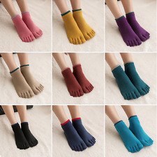 5 Pairs Women Cotton Ankle Nonslip Five Finger Toe Socks Casual Sports Low Cut