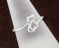 925 Sterling Silver Cat Band Ring size 8 US
