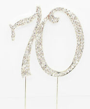 Rhinestone Birthday Cake Topper Number Pick 70th Diamante Gems Decoration - 70