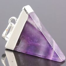 Amethyst Stone Healing Wicca Dowsing Gemstone Triangle Silvery Charms Pendant