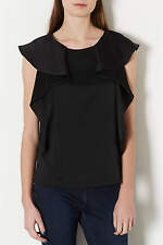 Topshop Tall Black Heavy Satin Frill Top Blouse Shirt UK 12 EURO 40 US 8 BNWT