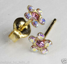 Studex Gold Earrings Tiny Tips Hypoallergenic Rainbow Crystal 5mm Daisy Pink Ctr