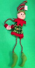 CHRISMAS ELF ORNAMENT HANGING DECORATION WITH DANGLE LEGS NWT!