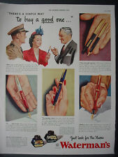 1943 Waterman's Ink Pen Writing Instruments Full Color Vintage Print Ad 11975