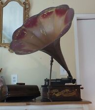 ANTIQUE THOMAS EDISON PHONOGRAPH MODEL H WITH HORN