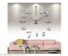 Horloge murale effet 3D maison moderne décoration miroir salon grand temps argent