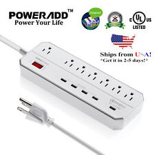 Poweradd Surge Protector 7-Outlet Quick Charge 3.0 USB Port 6ft Cord Power Strip