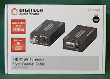DIGITECH AC-1740 HDMI AV EXTENDER OVER COAXIAL CABLE WITH IR EXTENDER RRP:$329!