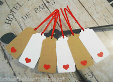 10 Kraft Gift Tags Heart Wedding Favour Engagement Valentines Day Bomboniere
