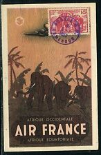 France / Cameroun - Carte maximum Elephants en 1953 , carte Air France