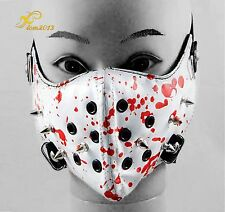 Spike Steampunk Biker Mask Masquerade Bloody white Leather Cosplay Gothic Punk