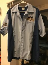 Disney World Mickey Mouse + Pete Embroidered Bowling Shirt Strike Kings Men's L