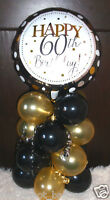 "18"" FOIL BALLOON  TABLE DECORATION DISPLAY HAPPY 60TH BIRTHDAY GOLD & BLACK 60"