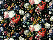 DUTCH FLOWERS TAPESTRY BLACK MULTI T115 FLORAL CURTAIN FURNISHING FABRIC