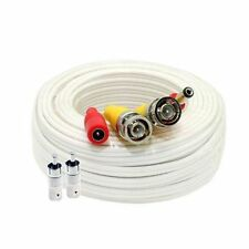 50 ft Siamese White BNC RCA Video Power Cable for CCTV Security Camera System