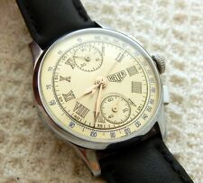 VINTAGE ED HEUER CHRONOGRAPH CLASSIC DIAL 34MM CASE VALJOUX 92  JUST SERVICED