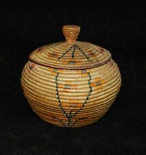 "Rare Antique Panamint or Shoshone Polychrome Lidded Indian Basket 5 3/4""d"