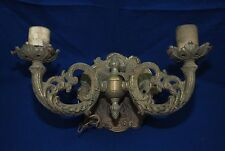 Vintage Brass Bronze French Style Scrolling Ornate 2 Arm Lamp Wall Sconce