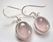 Rose Quartz Earrings 925 Sterling Silver Corona Sun Jewelry Medium-Small Size