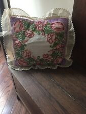 "Vintage Floral Needlepoint Pillow Purple Corduroy 14"" X 12"" + 2"" Ruffle Flowers"