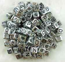 100pcs 6mm Acrylic Dull Silver  Alphabet Letter Coin Square Flat Spacer Beads