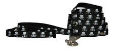 black  skull  chihuahua dog/pup collar lead set fabric