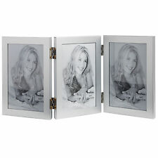 "VonHaus 6""x4"" Silver Triple Hinged Aperture Portrait Picture Photo Frame Collage"