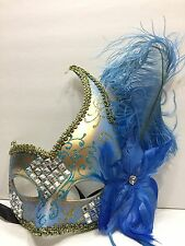 New Mardi Gras New Orleans Resin Eye Mask feathers this Blue one Masquerad(R1836