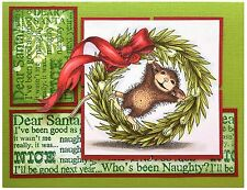 Christmas Wreath HOUSE MOUSE Wood Mounted Rubber Stamp STAMPENDOUS, NEW - HMP52
