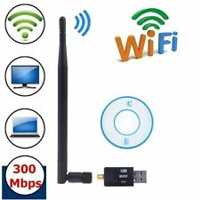 300Mbps USB WiFi Wireless Adapter Dongle Network LAN Card 802.11n/g/b+Antenna JR