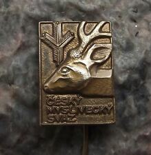 Antique Czech Hunting Hunters Association Union Stag Deer Head Members Pin Badge