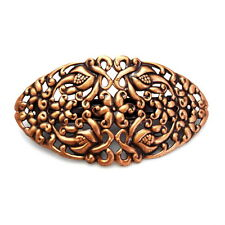 Large Copper Filigree Lace Flowers Barrette Ponytail Holder Updo Hair Style Clip
