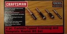 """Craftsman 26355 4pc Carbide Tipped Trimming & Template Router Bit Set 1/4"""" Shank"""