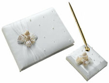 Seashell And Pearl Ivory Satin Beach Themed Wedding Guest Book And Pen Set