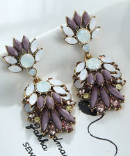 1 Pair Elegant Purple Crystal Rhinestone  Ear Drop Dangle Stud long  Earrings 86