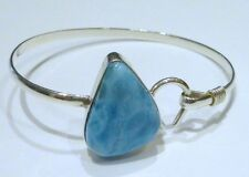 Sterling Silver Caribbean Hook Teardrop Larimar Bangle Bracelet