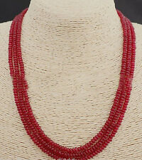 GENUINE TOP NATURAL 3 Rows 2X4mm RED RUBY BEADS NECKLACE