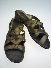 ECCO Brown Slide Leather Sandal Shoes EUR 41 US 10-10.5 Free Shipping