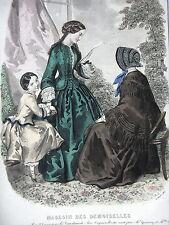 GRAVURE ANCIENNE MODE 19e - MAGASIN DES DEMOISELLES - OCTOBRE 1851