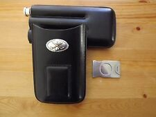 Gold Silver Golf Club 3 Cigar Black Leather Case W Stainless Steel Cutter Flask