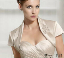 Stock Ivory/White Wedding Jacket short Sleeve Bridal Jacket Bolero  P17