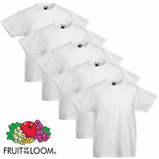 5 Pack Fruit of the Loom Cotton Plain Childrens Boys Girls T Shirts Wholesale
