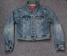 M&S Per Una Faded & Distressed Blue Denim Jacket Size 8